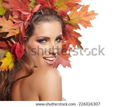 Beautiful Autumn Woman portrait - stock photo