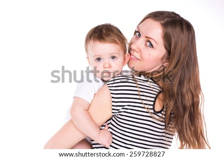 Beautiful baby and mother playing isolated on white  - stock photo