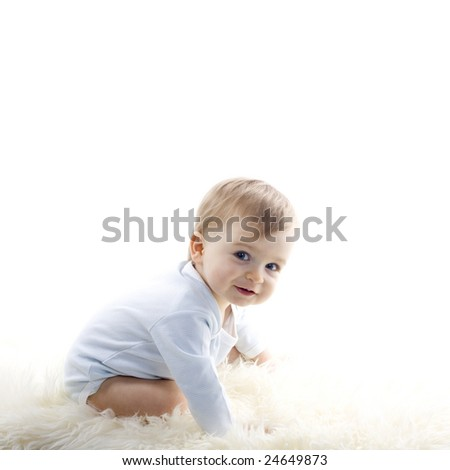 beautiful  baby boy on white background - stock photo