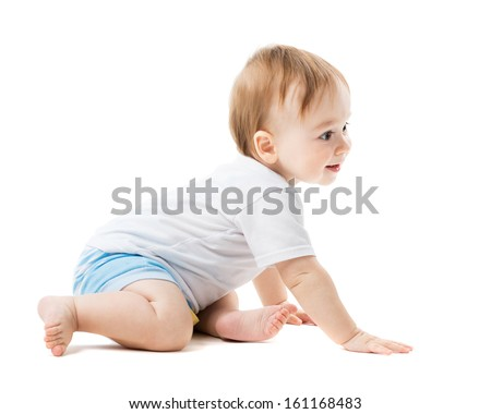 beautiful baby crawling with curiosity - stock photo