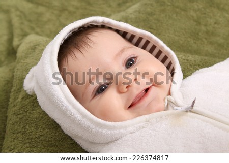 beautiful baby girl with hat - stock photo