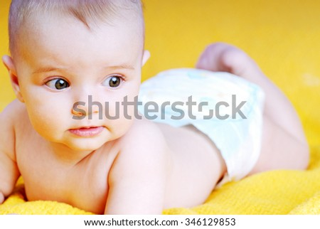 beautiful baby portrait close up - stock photo