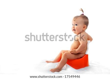Beautiful baby. Shot in studio. - stock photo
