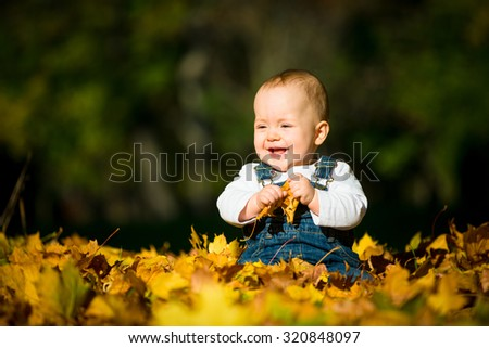Beautiful baby sitting and playing  in fallen leaves - fall scene - stock photo
