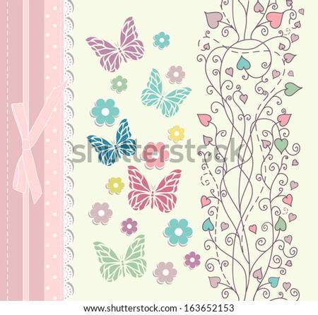 Beautiful baby vintage greeting card raster version - stock photo