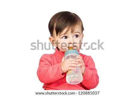 Beautiful baby with a Feeding bottle isolated on white background - stock photo