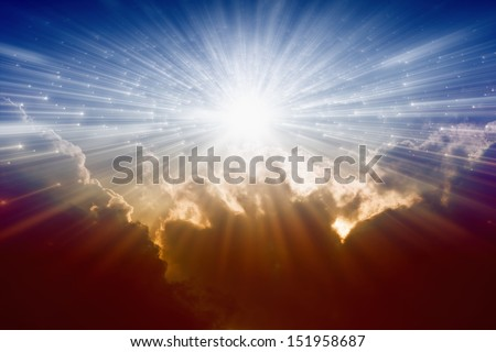 Beautiful background - bright sunshine, light from sky, heaven - stock photo