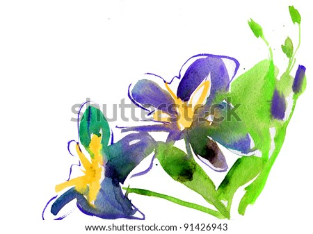 Beautiful background with watercolor flowers lily. - stock photo