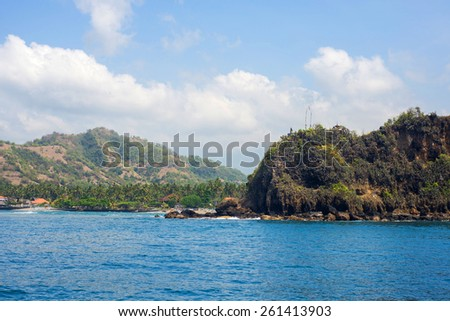 Beautiful balinese  beach view from ocean boat - stock photo