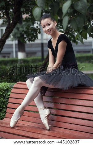 beautiful Ballet dancer (ballerina) outdoors - stock photo