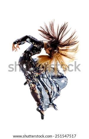 beautiful ballet dancer posing on white isolated background - stock photo