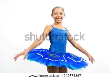 Beautiful ballet dancer with blue dress posing dance - stock photo