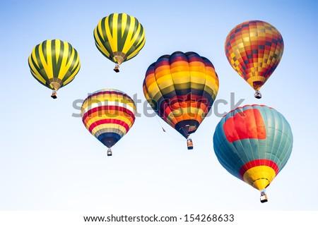 Beautiful balloons on sky - stock photo