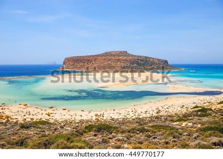 beautiful Balos Lagoon and Gramvousa Island in Crete - stock photo