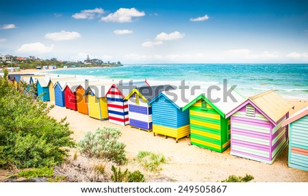 Beautiful Bathing houses on white sandy beach at Brighton beach in Melbourne, Australia. - stock photo