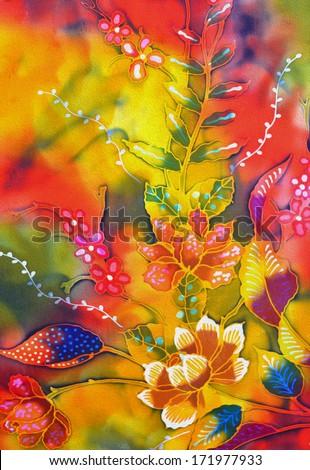 Beautiful batik sutera patterns in digital oil painting - stock photo