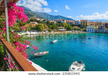 Beautiful bay in Assos fishing village on coast of Kefalonia island, Greece  - stock photo