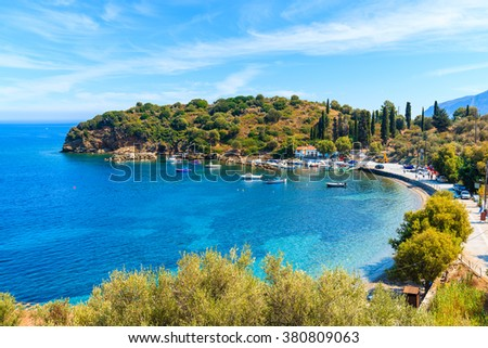 Beautiful bay with fishing port on Samos island, Greece - stock photo