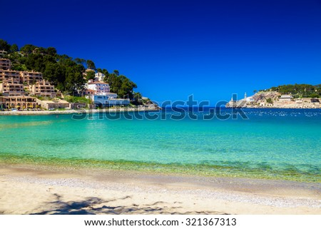 beautiful beach and azure sea in Port de Soller, Mallorca, Spain - stock photo