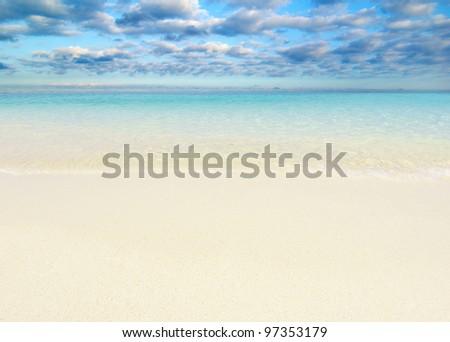 beautiful beach and tropical sea - stock photo