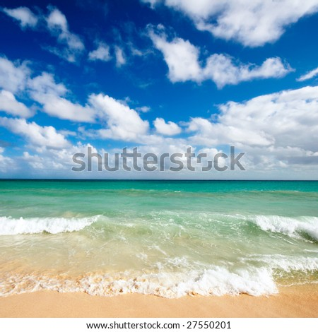 Beautiful beach and  waves of Caribbean Sea. Search for more great beach images in my portfolio - stock photo