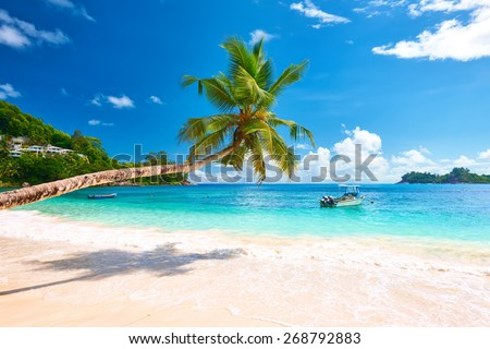 Beautiful beach at Seychelles, Mahe - stock photo