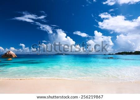 Beautiful beach at Seychelles, Praslin, Anse Lazio - stock photo
