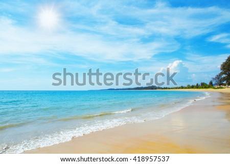 Beautiful beach blue sea summer sunny in Phuket Thailand - stock photo