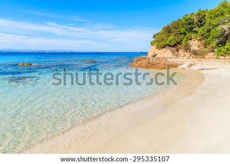 Beautiful beach Grande Sperone with crystal clear azure sea water, Corsica island, France - stock photo