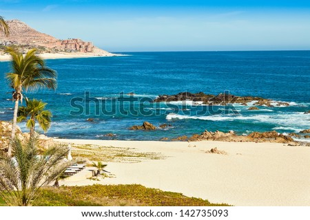 Beautiful beach in Cabo San Lucas, Mexico overlooking the Sea of Cortez - stock photo