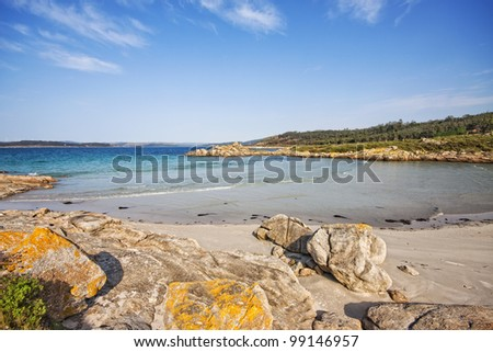 Beautiful beach in Muxia, La Coruna, Spain - stock photo