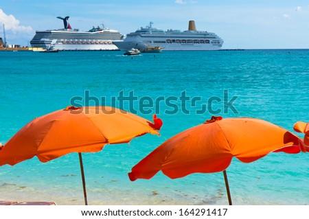 Beautiful beach in Philipsburg, Saint Martin, Carribean Islands - stock photo