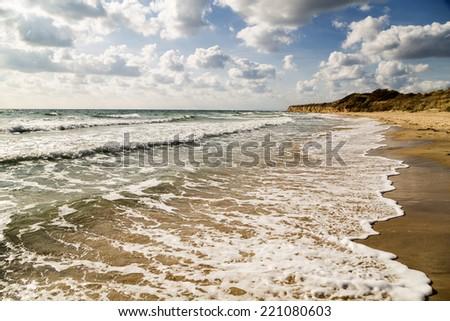Beautiful beach in summer - stock photo