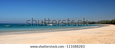 Beautiful beach Ngapali on the west coast of Myanmar - stock photo