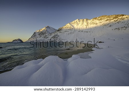 Beautiful beach of Haukland, Lofoten, Norway - stock photo