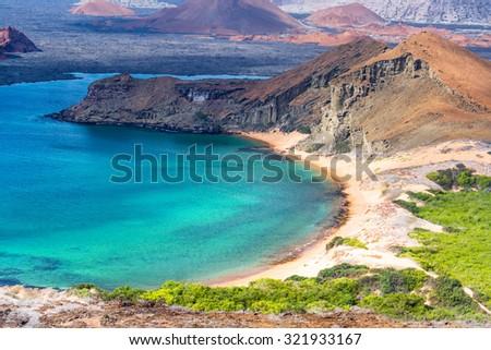 Beautiful beach on Bartolome Island in the Galapagos Islands in Ecuador - stock photo