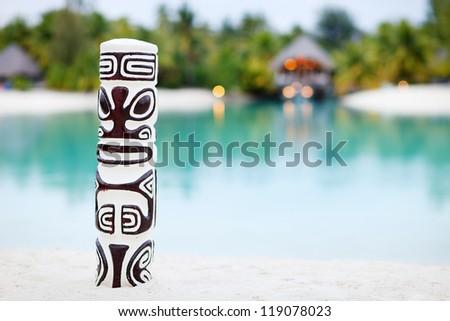 Beautiful beach on Bora Bora island at evening - stock photo