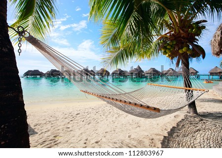 Beautiful beach on Moorea island in French Polynesia - stock photo