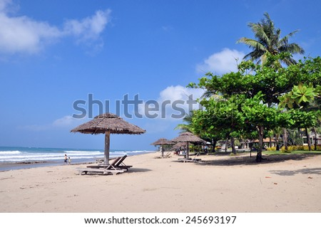 Beautiful beach resort in Ngwesaung Beach on the west coast (Bengal Bay) of Myanmar (Burma) - stock photo