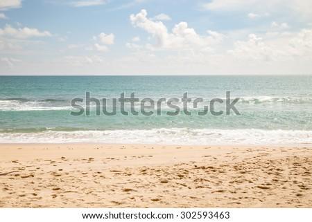 beautiful beach sea and sky and tropical sea - stock photo