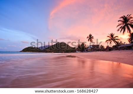 Beautiful beach sunset at Khanom, Thailand - stock photo