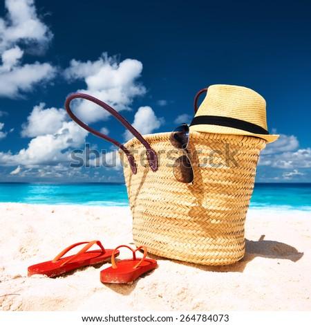 Beautiful beach with bag at Seychelles, La Digue - stock photo