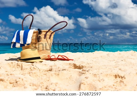 Beautiful beach with bag at Seychelles, La Digue - stock photo