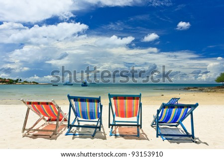 Beautiful beach with chair, Samed island , Thailand - stock photo
