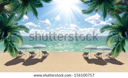 Beautiful beach with sea view - stock photo