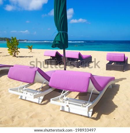 beautiful beach without people - stock photo