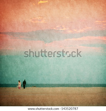 Beautiful beaches of the evening - picture in retro style - stock photo