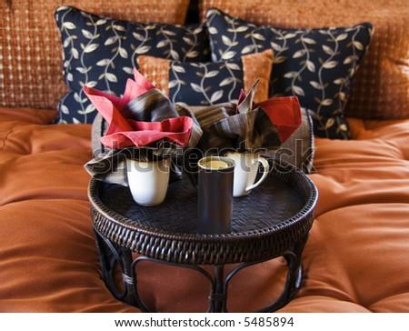 Beautiful bedroom decor - stock photo