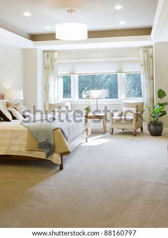 Beautiful Bedroom in New Luxury Home - stock photo