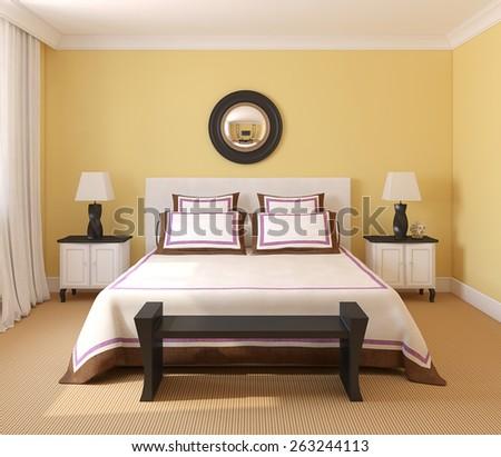 Beautiful bedroom interior. 3d render. - stock photo